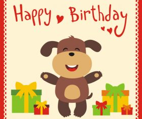 Cute cartoon animal with birthday card vector set 08