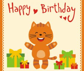 Cute cartoon animal with birthday card vector set 09