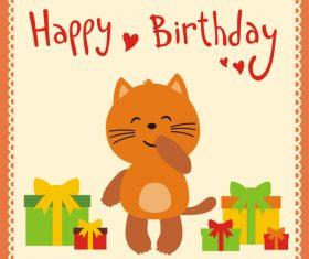 Cute cartoon animal with birthday card vector set 10