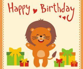 Cute cartoon animal with birthday card vector set 11