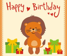 Cute cartoon animal with birthday card vector set 12