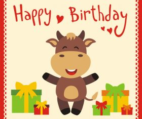 Cute cartoon animal with birthday card vector set 13