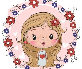 Cute cartoon girl vectors material 1