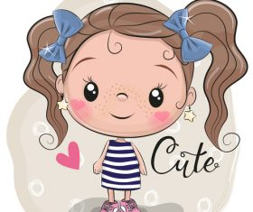Cute cartoon girl vectors material 3