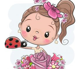 Cute cartoon girl vectors material 4