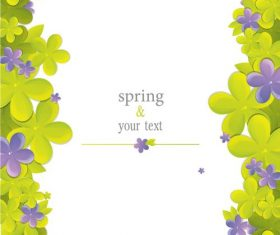 Cute flower with spring card vector set 01