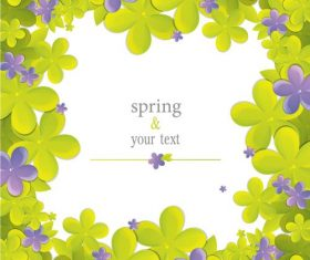 Cute flower with spring card vector set 02