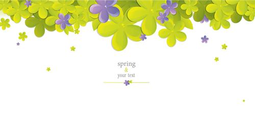 Cute flower with spring card vector set 03