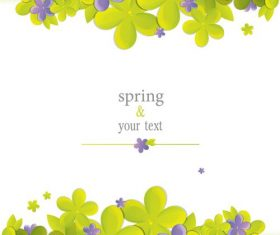 Cute flower with spring card vector set 04