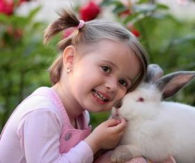 Cute little girl with white rabbit Stock Photo