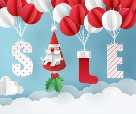 Cute paper balloons with christmas sale design vector
