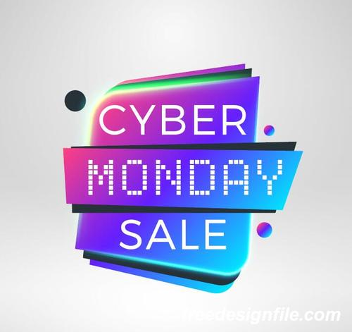 Cyber Monday Sale With Special Offer Labels Vectors 02