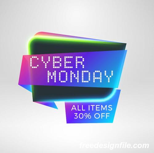 Cyber Monday Sale With Special Offer Labels Vectors 03