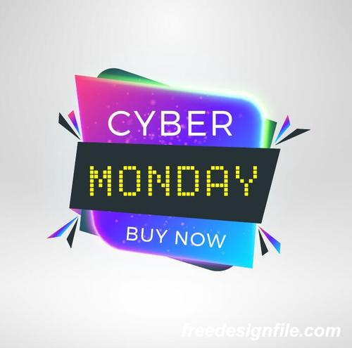 Cyber Monday Sale With Special Offer Labels Vectors 04