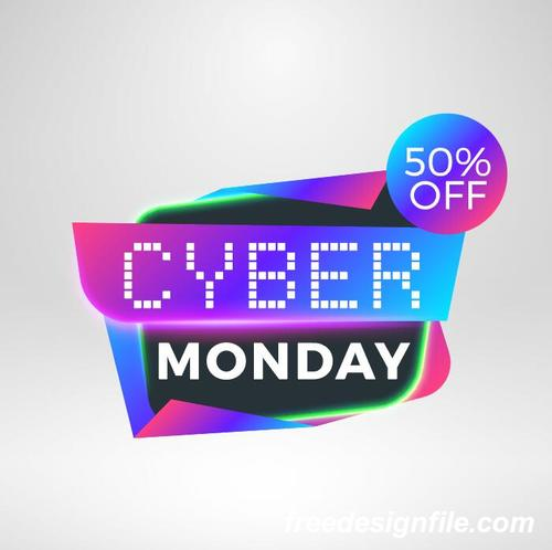 Cyber Monday Sale With Special Offer Labels Vectors 05