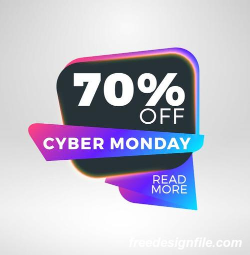 Cyber Monday Sale With Special Offer Labels Vectors 06