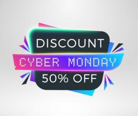 Cyber Monday sale with special offer labels vectors 12