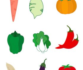 Daily vegetables flat vector graphic elements