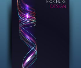 Dark blue brochure cover with abstract vector 05