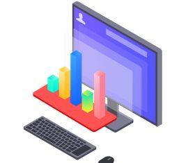 Data columnar business office vector