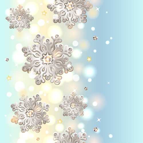 Decor snowflake with light blue christmas background vector