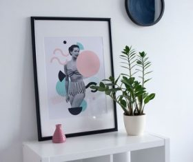 Decorative paintings and plants on the desktop Stock Photo