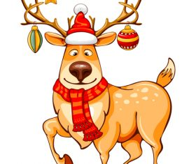 Deer with christmas baubles vector material 01