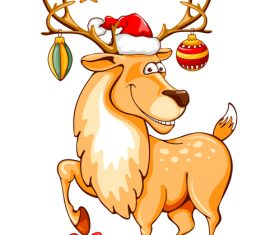 Deer with christmas baubles vector material 02