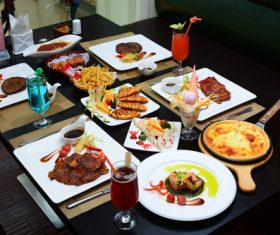 Delicious food on the dining table Stock Photo 07