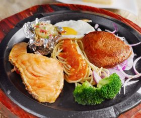 Delicious iron plate chicken set meal Stock Photo 01
