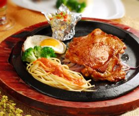Delicious iron plate chicken set meal Stock Photo 03