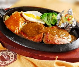Delicious iron plate chicken set meal Stock Photo 06