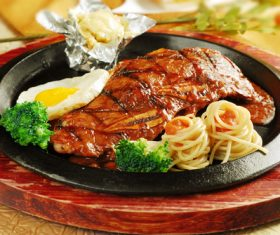Delicious iron plate chicken set meal Stock Photo 07