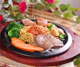 Delicious iron plate chicken set meal Stock Photo 08