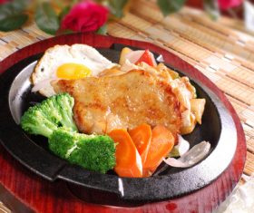 Delicious iron plate chicken set meal Stock Photo 09