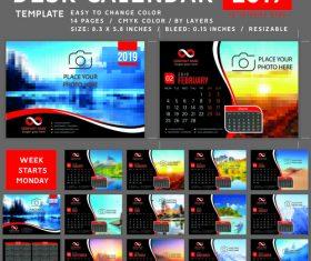 Desk calendar 2019 color vector template 01