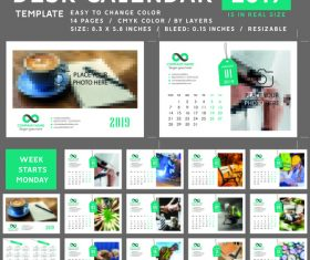 Desk calendar 2019 color vector template 02