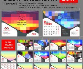 Desk calendar 2019 color vector template 04