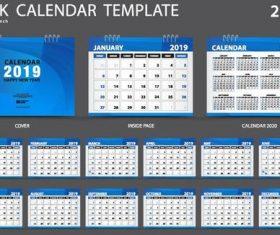 Desk calendar template 2019 vector material 01