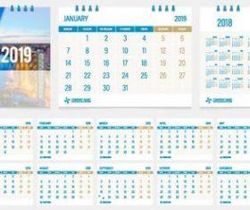 Desk calendar template 2019 vector material 03