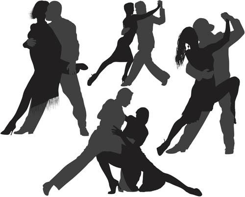 Different Tango silhouette 2 set vector