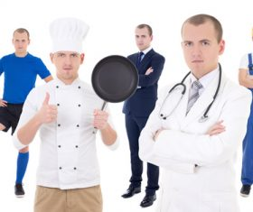 Different professional chefs and athletes doctors Stock Photo