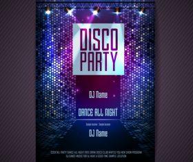 Disco party poster neon template vector 01