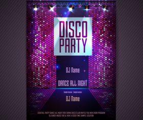Disco party poster neon template vector 02