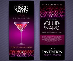 Disco party poster neon template vector 05