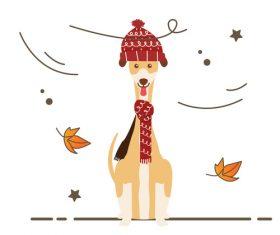 Dog in autumn wind vector