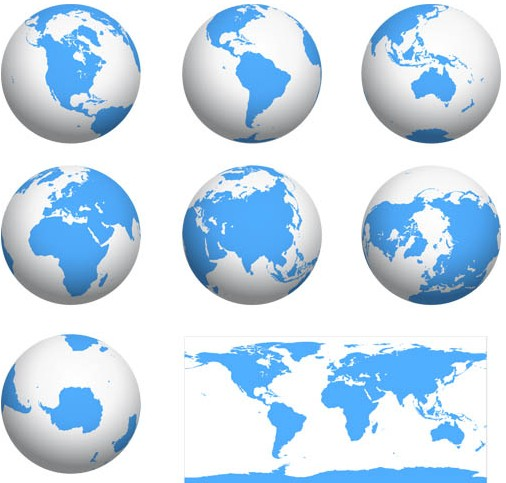 Earth Globes graphic vectors