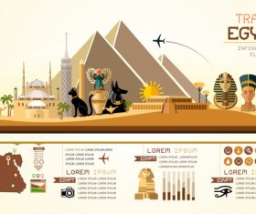 Egypt travel infographic template vector