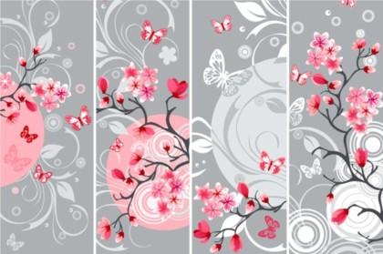 Elegant Japanese Cherry background vectors material