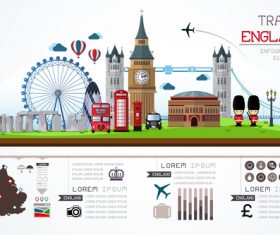 England travel infographic template vector